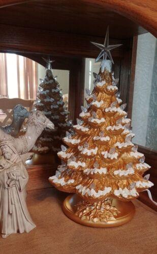 "Ceramic Christmas Tree Lighted 14"" - Gold - Flocked - Gold Holly Base"