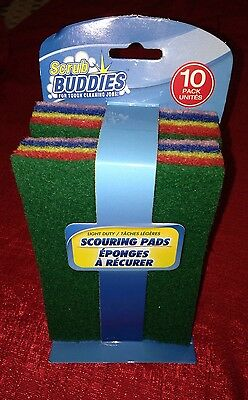 SCRUB BUDDIES Pack of 10 Scouring Pads 4x6 Inch For Tough Cleaning Jobs