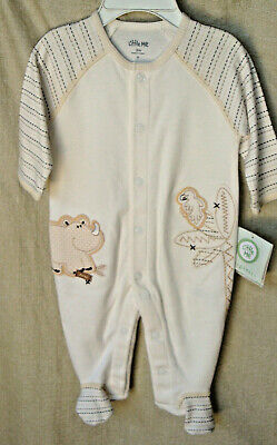 LITTLE ME 100% Organic Cotton Long Sleeve Oatmeal PALM TREE Footie SIZE 3 MO NWT