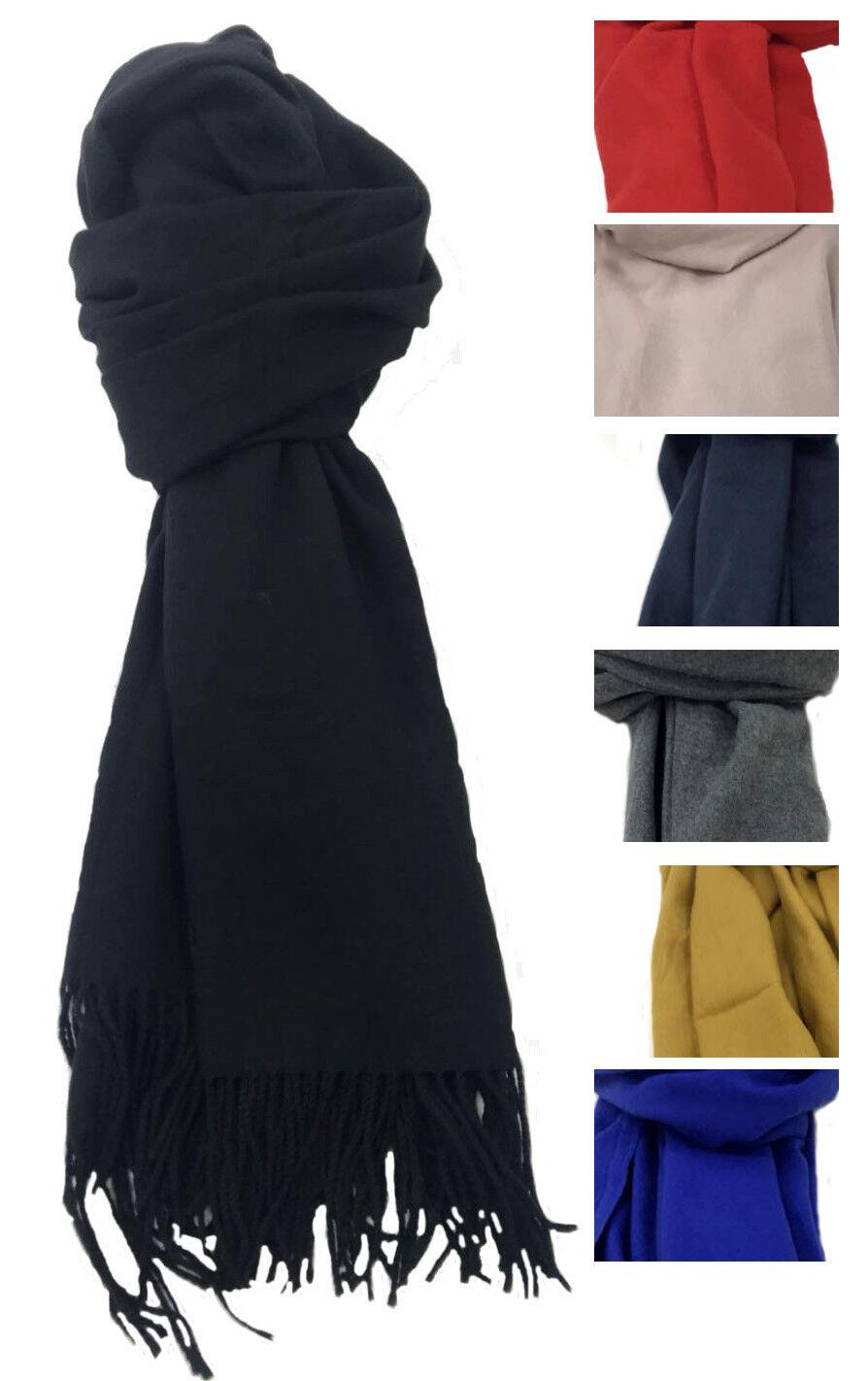 XXL Schal Tuch blau mit Kaschmir 70x180cm Cape scarf Halstuch Poncho ohne Muster
