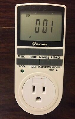 Enover Programmable Digital Weekly Light Switch Timer 7 Day 24 Hour Plug