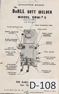 Doall 5 Dbw Butt Welder Operations Parts Wiring Service Manual 1952
