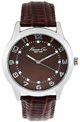 (KENNETH COLE NY DRESS BROWN DIAL BROWN LEATHER STRAP MEN'S WATCH 10014651 NEW)