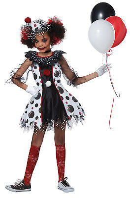 Circus Creepy Clown Joker IT Child Girls Costume