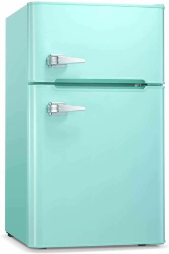 Compact Mini Refrigerator Separate Freezer, Small Fridge Double 2-Door Green