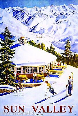 Sun Valley Idaho 2 Ski Winter United States America Travel Advertisement  Poster