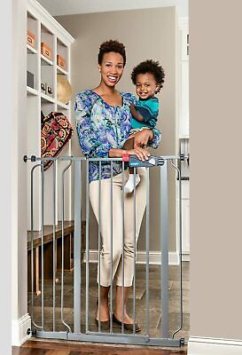 Regalo Easy Step Extra Tall Walk Thru Baby Gate Platinum