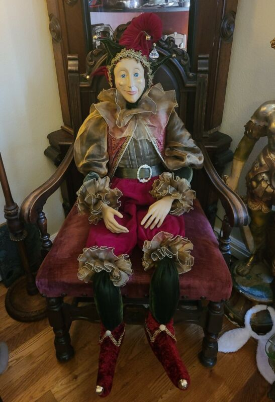 Rare Vintage Mardi Gras Jester Display Life Size Doll 58""