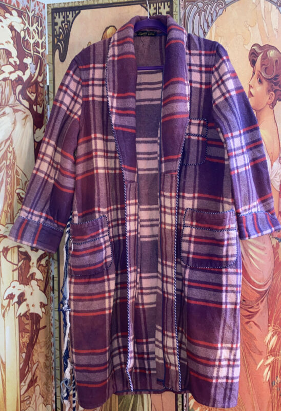 Vintage 1940s Beacon Cotton Plaid House Coat Robe Jacket
