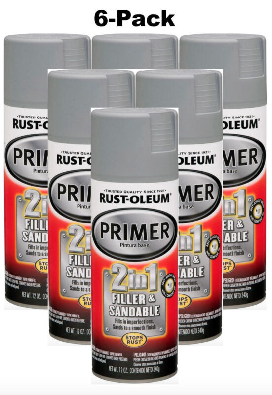 6-Pack Auto r Spray Paint 2-in-1 Filler Sandable Automotive