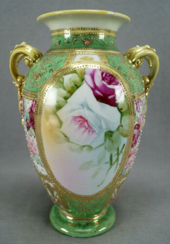 Nippon Hand Painted Pink White Roses Heavily Gold Beaded & Jeweled Green Vase A