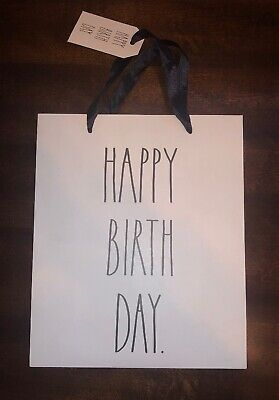 "New Rae Dunn Gift Bag ""HAPPY BIRTH DAY."" Size 10x12 With Gift Tag](Happy Birth)"