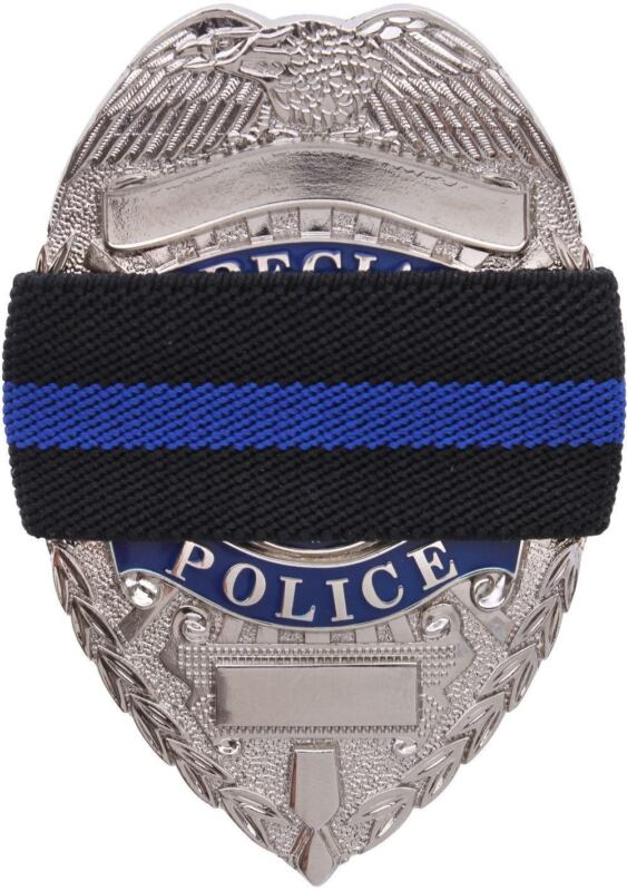 Black Thin Blue Line Elastic Police Law Enforcement Officer Badge Mourning Band