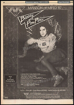 BLOODY POM POMS_/_CHEERLEADER CAMP__Orig. 1987 Trade AD / poster__BETSY - Bloody Cheerleader