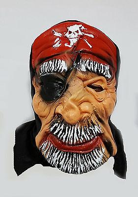 New Adult Latex Scary Pirate Mask Dress Prank Fancy Halloween Costume UK Seller - Halloween Latex Mask Uk