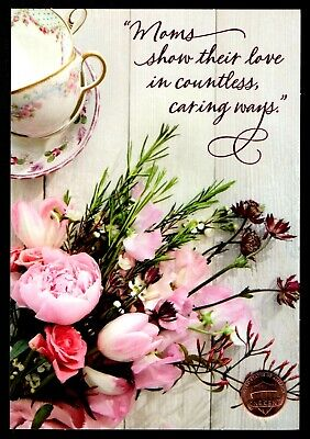 Mother's Day Cups (Mother's Day Coffee Tea Cups Pink Flowers Bouquet - Mother's Day Greeting Card)