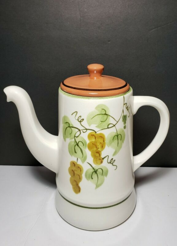 Stangl Pottery Golden Grapes Coffee Pot Teapot Hand Painted