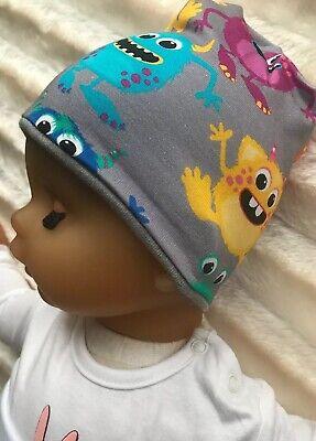 Baby Beanie Mütze kleine Monster ,innen grau 35-38 cm Kopfumfang (Baby Beanie Grau)
