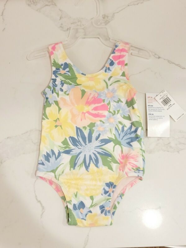 Old Navy Girls One Piece Floral Swim Suit Bathing Suit Swimwear Size 3-6 M NEW!
