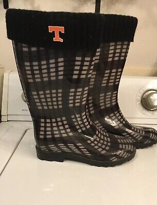 Women's Galoshes/Rain Boots TENNESSEE T on 1 side Sz Small Black Cuff Top *USED* Cuff Rain Boots