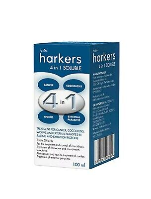 Harkers 4 in 1 Soluble canker, coccidiosis, worms, parasites in pigeons 100ml