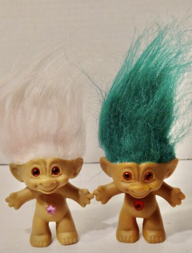 1990 Treasure Trolls Wishstone Jeweled Belly Troll Dolls Lot of 2