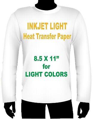 Ink Jet Heat Iron On Transfer Paper Light 8.5 X 11 -2 Sheets