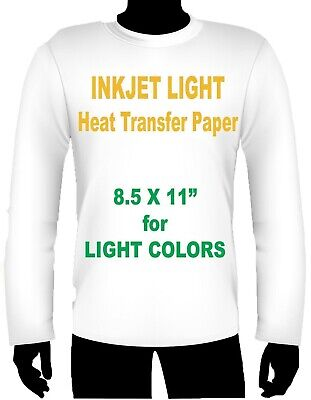 Ink Jet Heat Iron On Transfer Paper Light 8.5 X 11 -8 Sheets