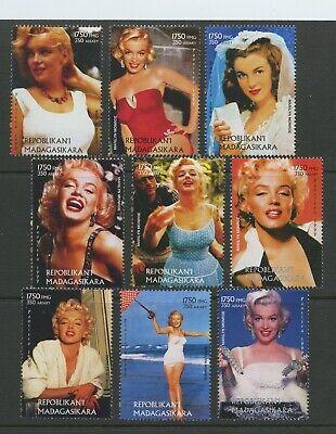 Marilyn Monroe MNH Set of 9 Stamps 1999 Madagascar Actress Movie Celebrity