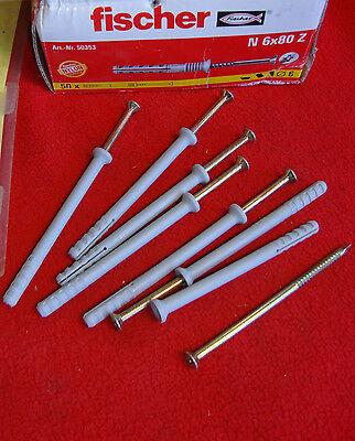 48 Stück Fischer Nageldübel N 6 x 80 Z 50353 N6x80Z Dübel mit Nagelschrauben 371