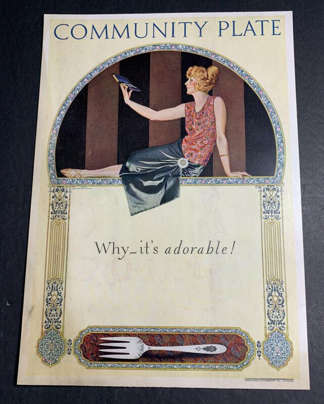 Community Plate Silverware Orig Ad 1923 Pretty Flapper Girl Coles Phillips
