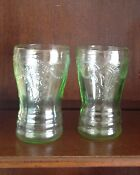 Green Cameo Depression Glass Tumbler
