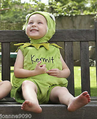 Baby Toddler Kermit the Frog Muppets Disney Boys Girl Fancy Dress Costume - Toddler Kermit Costume