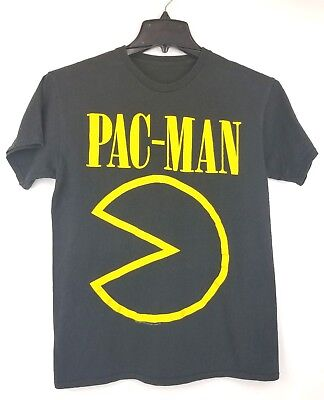 Pac-Man Shirt - Black T-Shirt Yellow Graphic Size Small Nirvana Style