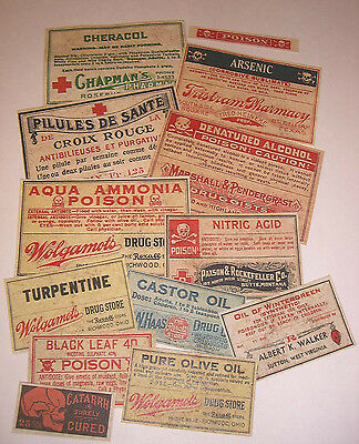 Set of 13 POISON VINTAGE LOOK APOTHECARY LABELS Halloween / Primitive