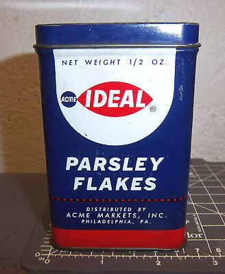 - Vintage Ideal Parsley Flakes 1/2 oz spice tin, great graphics & colors large tin