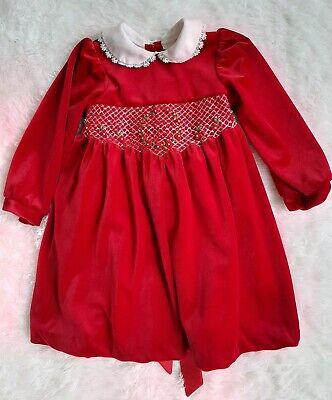 Little Bitty Red Velvet Velour Girls Sz 3T, Dress Gown, Peter Pan collar