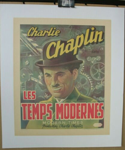 MODERN TIMES (1936), Original Re-Release Belgian Poster On Linen, Chaplin, Tramp