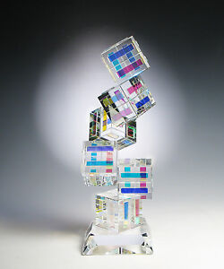 NEW Dichroic Optic Crystal Glass Sculpture