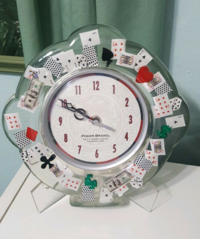 Poker Brand wall Clock clear lucite acrylic playing Cards Vegas theme vintage