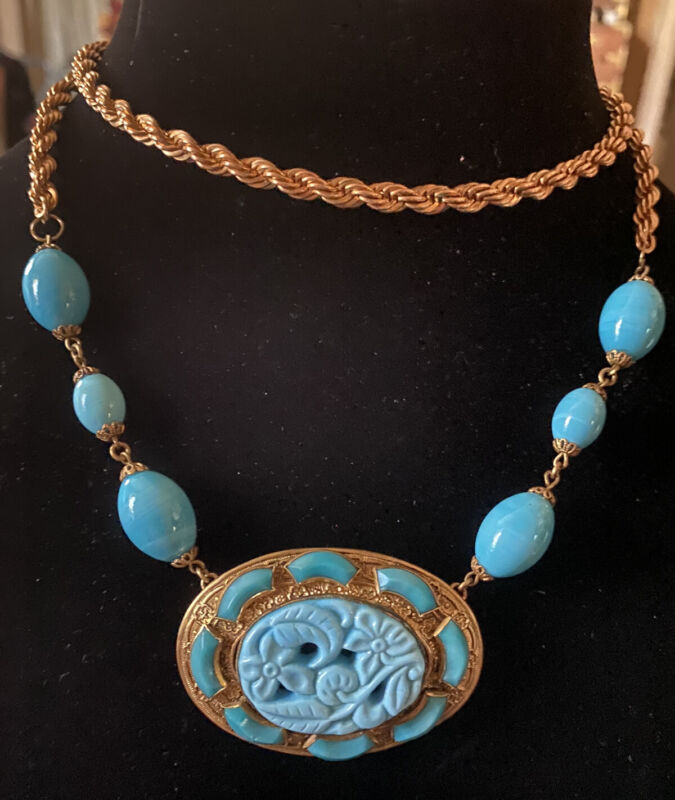 Vintage Czech Art Deco Blue Molded Glass and Ornate Brass Setting and Chain