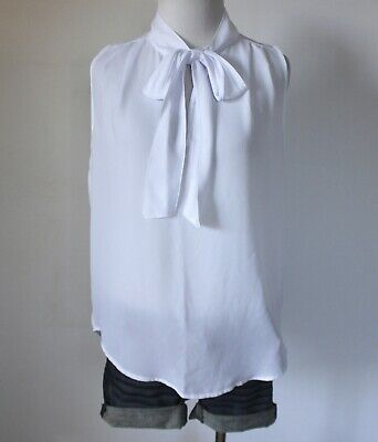 - ABERCROMBIE & FITCH Hollister Chiffon Tie V Neck Sleeveless Blouse Top Shirt S