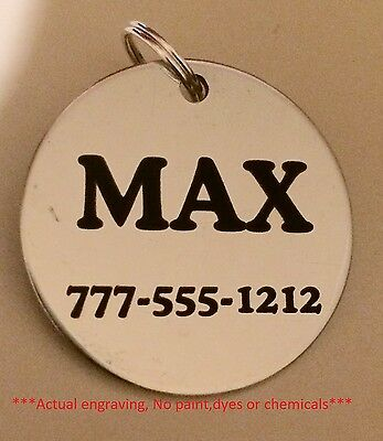 Stainless Steel Dog Pet Id Tags  Lifetime Guarantee    Personalized W  Free Ring