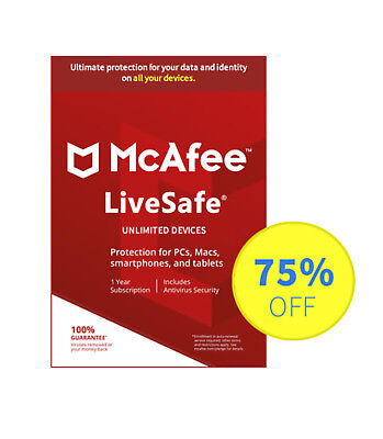 McAfee LiveSafe 2018 Latest UNLIMITED Devices PCs Mac Android iOS 1 Year License
