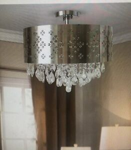 9 light semi flushmount with crystal beads