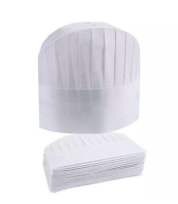 Chef Hats - 2 Packs 50 Disposable White Paper Toques Supplies Adjustable...