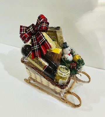 Christmas gift basket Sleigh filled with gourmet cheeses, sausage, crackers (Filled Sleigh)