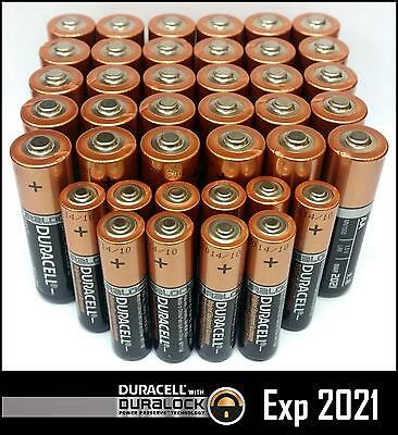 Duracell 30 AA + 10 AAA Batteries Copper Top Alkaline Long Lasting 2021/25 Bulk