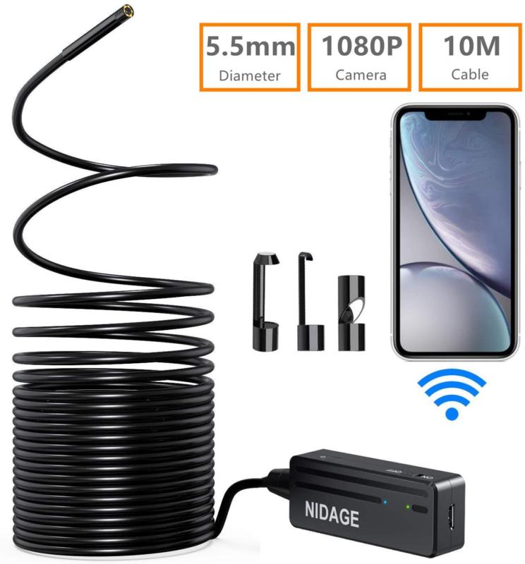 Wireless Endoscope Camera, NIDAGE WiFi 5.5mm 1080P HD Boresc