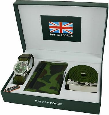 Army Watch Gift Set Complete With Watch Wallet Belt And Pen Brand New